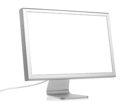monitor de computadora: Monitor de computadora con pantalla en blanco. Aislados en fondo blanco