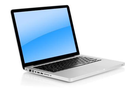 Aluminum laptop with blue gradient on screen. Isolated on white background photo