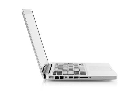Aluminum laptop with glossy screen. Isolated on white background photo