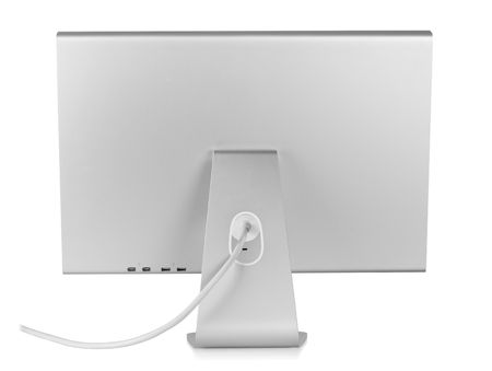 silver screen: Computer Monitor. Rear view, isolated on white background