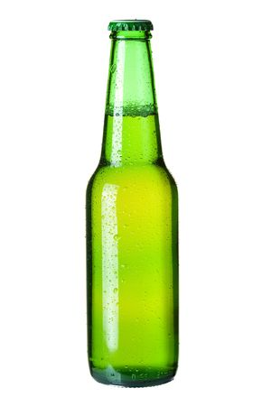 Beer collection - Cold lager beer in green bottle. Isolated on white background photo