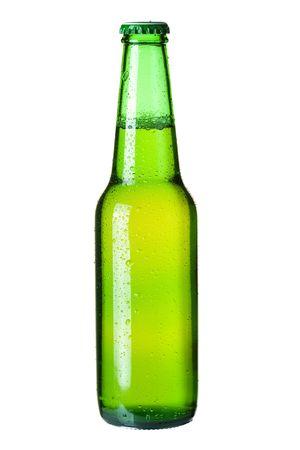 botellas de cerveza: Colecci�n de Beer - Cold cerveza lager en verde botella. Aislados en fondo blanco