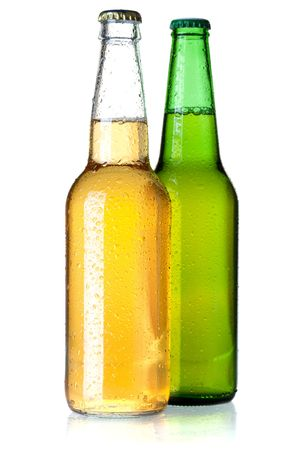 Beer collection - Two beer bottles. Isolated on white background Stock Photo - 6683407
