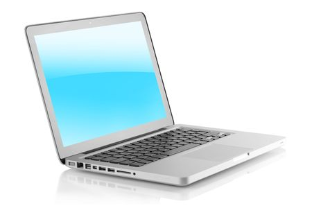Laptop with glossy screen. Isolated on white background photo