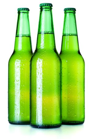 Beer collection - Three green beer bottles. Isolated on white background Stock Photo - 6737137