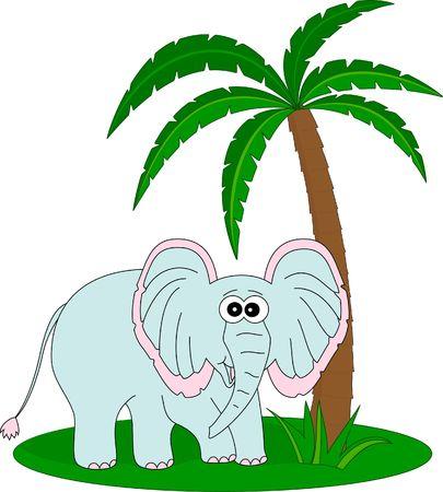 Elephant under the palm photo