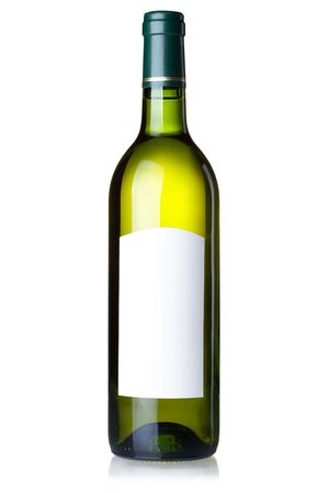 Wine collection - White wine in green bottle with blank label. Isolated on white background photo