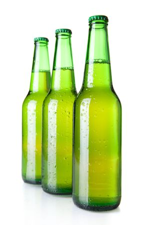Beer collection - Three green beer bottles. Isolated on white background Stock Photo - 6737172