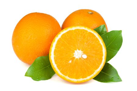 Fresh juicy oranges with green leafs. Isolated on white background photo