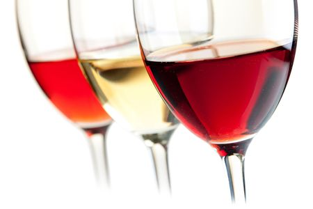 Wine collection - Rose, White and Red wine. Small DOF. Isolated on white background Stock Photo - 6787482