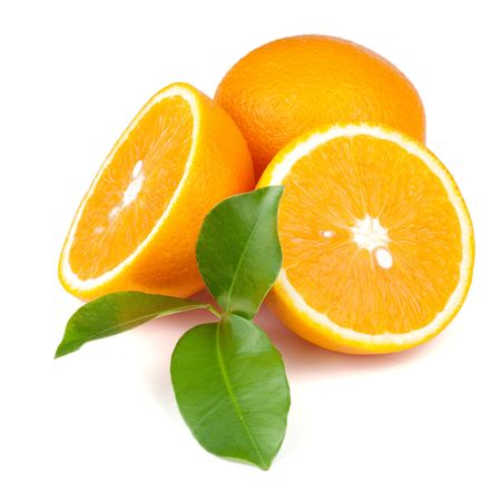 Fresh juicy oranges with green leafs. Isolated on white background
