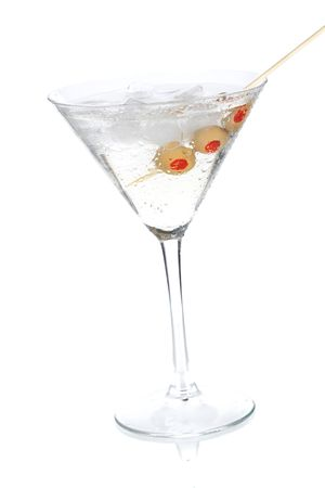 Cocktail collection - Classic martini with olives. Isolated on white background photo