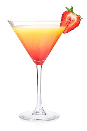 Orange alcohol cocktail with strawberry. Isolated on white background photo