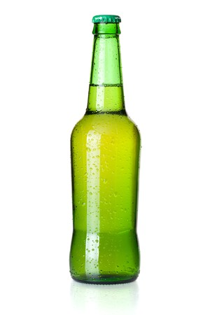 green bottle: Beer collection - Green beer bottle. Closeup, isolated on white background