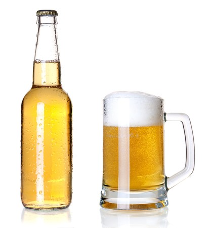 Beer bottle and glass photo