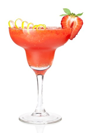 Frozen strawberry daiquiri alcohol cocktail. Isolated on white background Stock Photo - 6840720