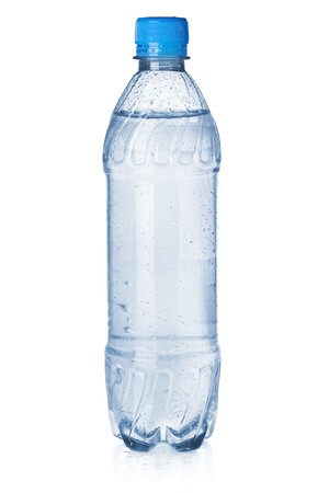 bottle water: Small bottle of soda water. Isolated on white background Stock Photo