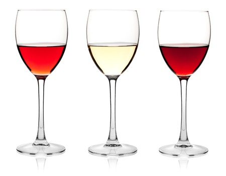 rose wine: Wine collection - Rose, White and Red wine. Isolated on white background
