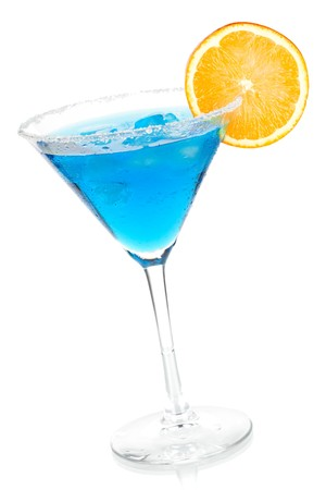 Cocktail collection - Blue martini with orange slice. Isolated on white background photo