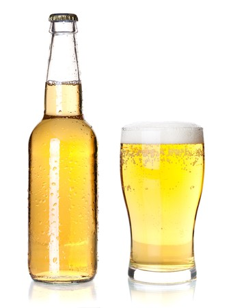 Beer collection - Bottle and glass with lager beer. Isolated on white background photo