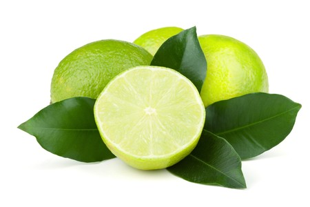 Fresh juicy limes with green leafs. Isolated on white background Stock Photo - 7001144