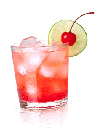 Alcohol cocktail with maraschino and lime. Isolated on white background photo