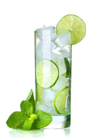 Glass of water with lime, ice and mint. Isolated on white background. Stock Photo - 7001176