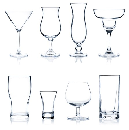 Cocktail Glass Collection - Most popular cocktail and wine glasses. Isolated on white background photo