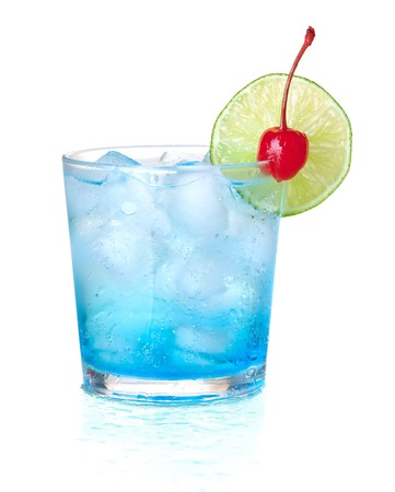 Blue alcohol cocktail with maraschino and lime. Isolated on white background photo