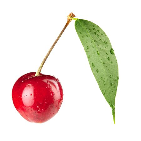 Fresh cherry with green leaf. Isolated on white background