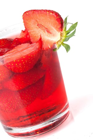 Strawberry cocktail. Closeup, isolated on white background Stock Photo - 7077799