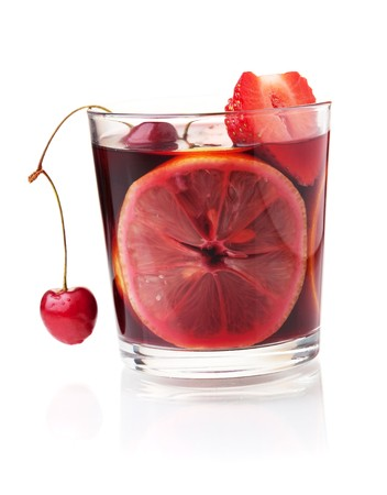Cocktail collection - Refreshing fruit sangria with strawberry, orange and cherry. Isolated on white Stock Photo - 7099640