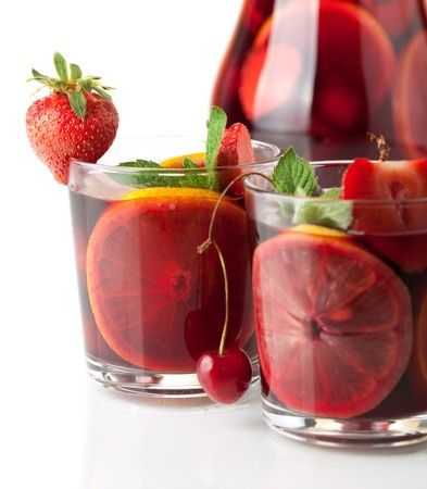 Cocktail collection - Refreshing fruit sangria. Closeup, isolated on white