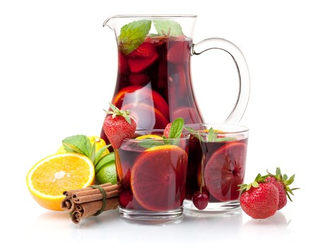 jugs: Refreshing sangria (punch) and fruits. Isolated on white