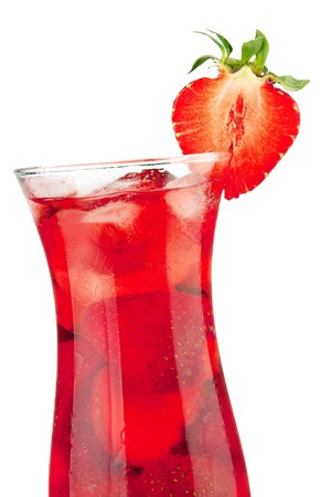 Strawberry cocktail with ice. Closeup, isolated on white background photo