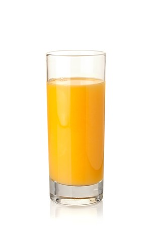 Orange juice in highball glass. Isolated on white background photo