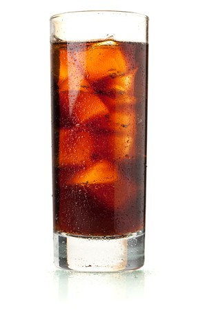 colas: Cola in highball glass with water drops. Isolated on white background Stock Photo