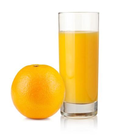Orange juice in highball glass and orange. Isolated on white background Stock Photo - 7406906