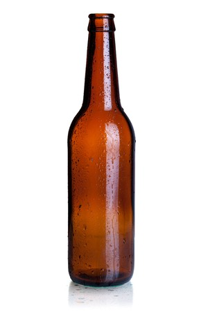 vintage bottle: Empty beer bottle. Isolated on white background