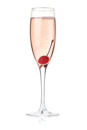 Rose champagne with maraschino. Isolated on white background photo