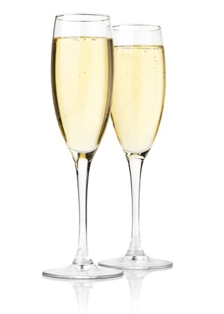 champagne flute: Two glasses of champagne. Isolated on white background