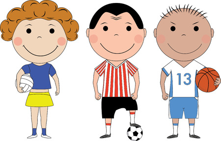 deportes caricatura: Ni�os felices con las bolas diferentes  Vectores