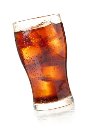 soft drink: Cola glass. Isolated on white background