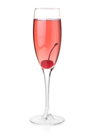 maraschino: Rose champagne with maraschino. Isolated on white background Stock Photo