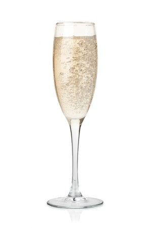 Champagne in glass. Isolated on white background Stock Photo