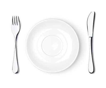 knife and fork: Fork, knife and empty white plate. Isolated on white background