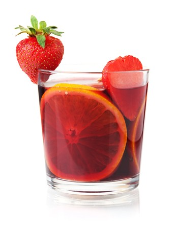 Cocktail collection - Refreshing fruit sangria with strawberry and orange. Isolated on white photo