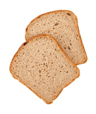 loaves: Two slices of brown bread. Isolated on white