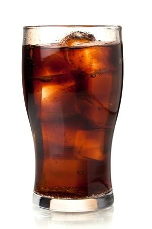 cola: Glass of cola with ice. Isolated on white background