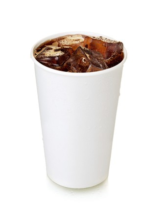 Cola de comida rápida. Aislados en blanco